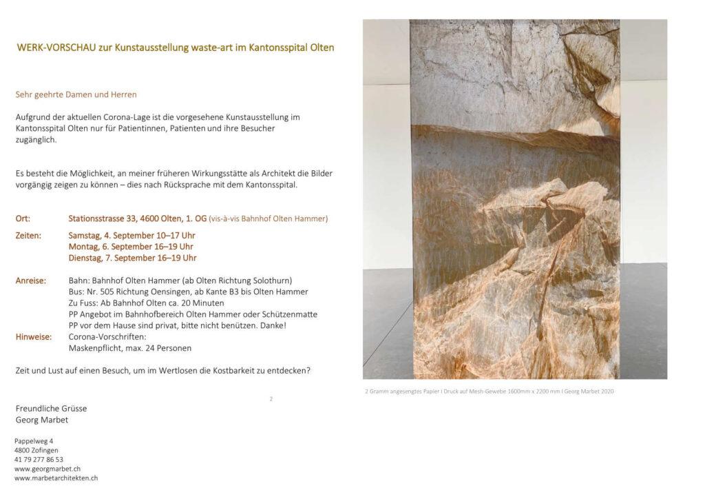 Werkvorschau zur Kunstausstellung im Kantonsspital Olten