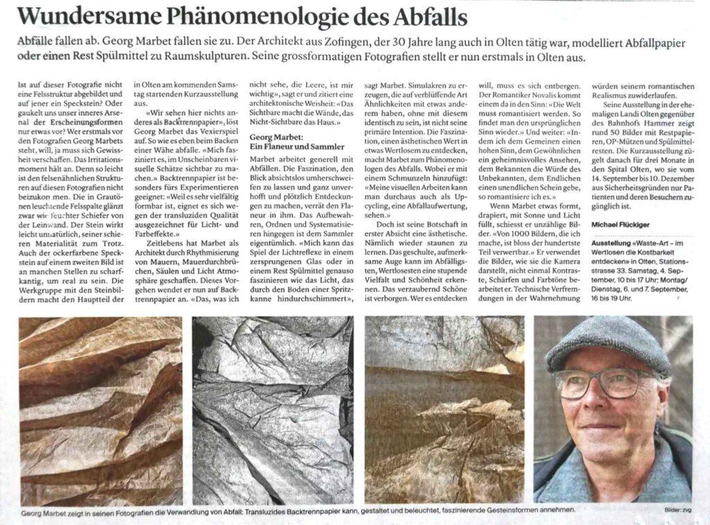 Zofinger Tagblatt vom 31. August 2021: Wundersame Phänomenologie des Abfalls
